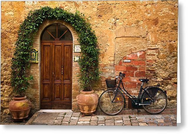 Bicycling Tuscany Greeting Cards - Bicletta Greeting Card by John Galbo