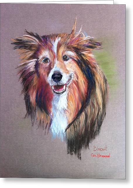 Collie Pastels Greeting Cards - Bicuit Greeting Card by Gail Newman