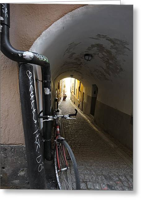 Narrow Skirt Greeting Cards - Bicycle and couple in a narrow alley Greeting Card by Intensivelight