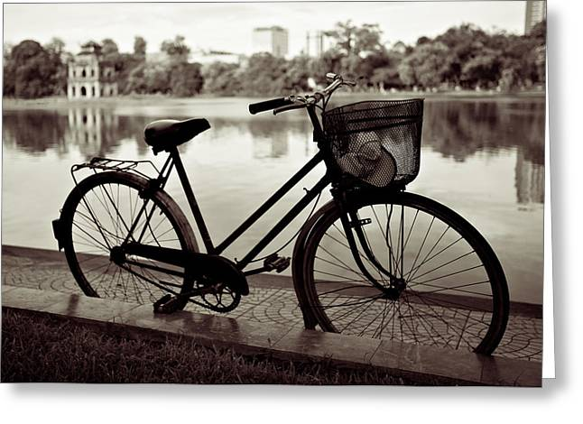 Basket Photographs Greeting Cards - Bicycle by the Lake Greeting Card by Dave Bowman