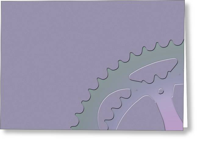 Ultra Modern Greeting Cards - Bicycle Chain Ring on Lavender Mist - 1 of 4  Greeting Card by Serge Averbukh