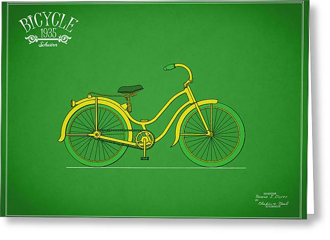 Vintage Bicycle Photographs Greeting Cards - Bicycle Design 1935 Greeting Card by Mark Rogan