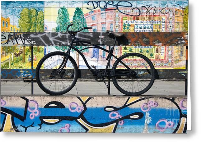 Teen Town Greeting Cards - Bicycle Graffiti Greeting Card by Christos Koudellaris