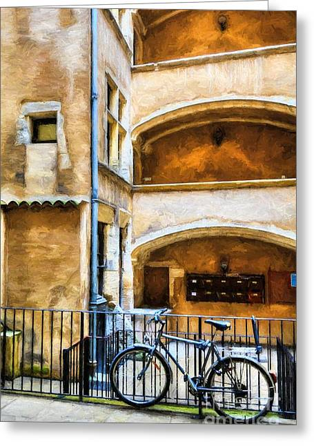 Bicycle In Old Town Lyon Greeting Card by Mel Steinhauer