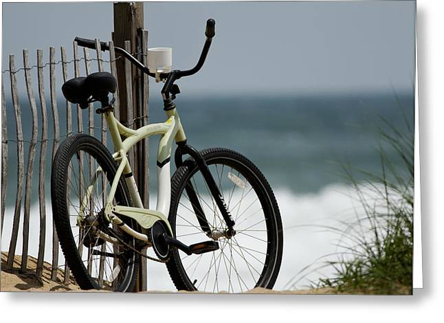 Beach Cruiser Greeting Cards - Bicycle on the Beach Greeting Card by Julie Niemela