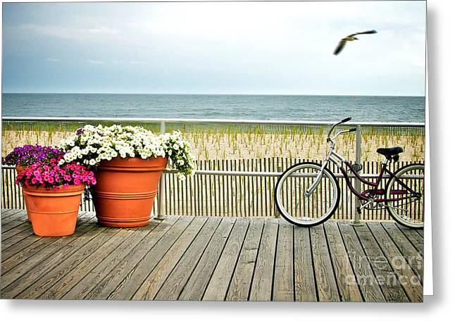 No People Photographs Greeting Cards - Bicycle on the Ocean City New Jersey Boardwalk. Greeting Card by Melissa Ross
