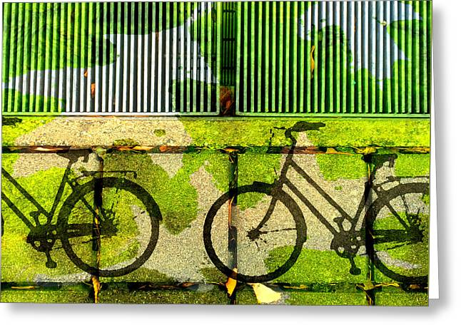 Abstract Digital Mixed Media Greeting Cards - Bicycle Parking Greeting Card by Nancy Merkle