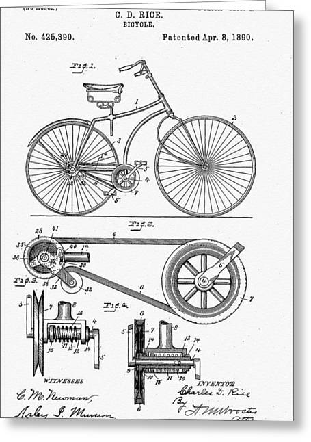 Bicycle Patent 1890 Greeting Card by Bill Cannon