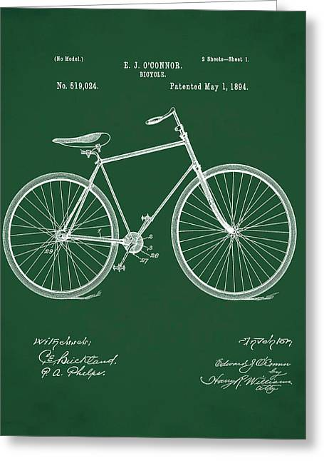 Bicycle Patent 1894 Green Greeting Card by Bill Cannon