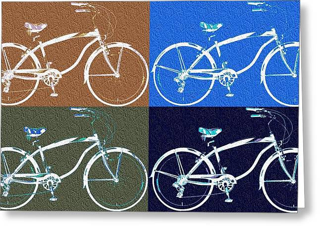 Gym Mixed Media Greeting Cards - Bicycle Pop Art Poster Greeting Card by Dan Sproul