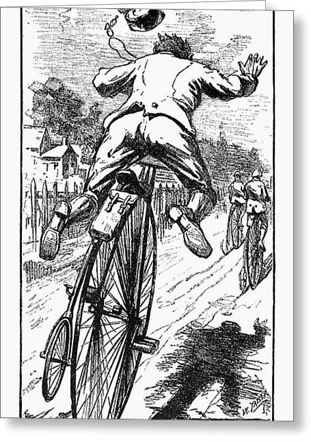 Bicycle Race Accident, 1880 Greeting Card by Granger