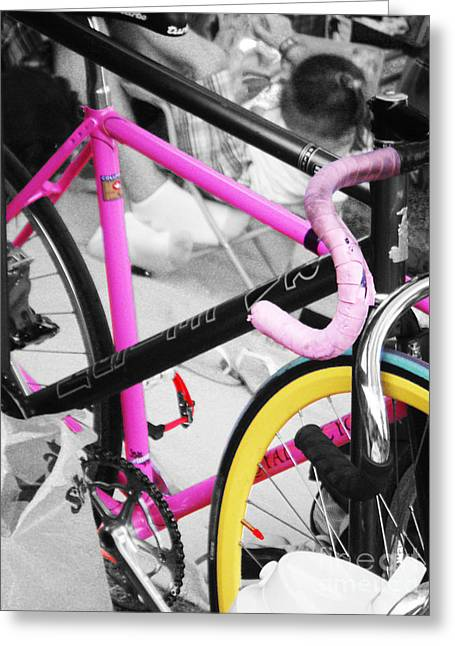 Pink Road Greeting Cards - Bicycle Greeting Card by Shannon  Ireland