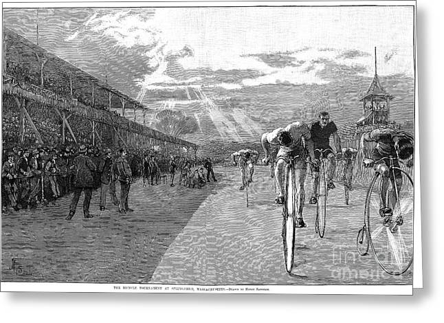 BICYCLE TOURNAMENT, 1886 Greeting Card by Granger