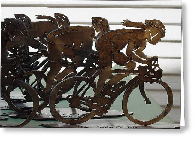Steel Sculptures Greeting Cards - Bicycle Trophies Greeting Card by Steve Mudge