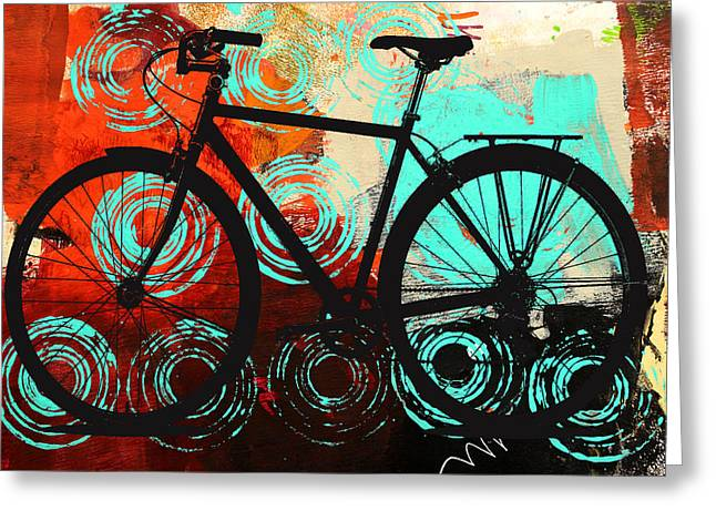 Urban Images Greeting Cards - Bicycle Wheels Greeting Card by Nancy Merkle