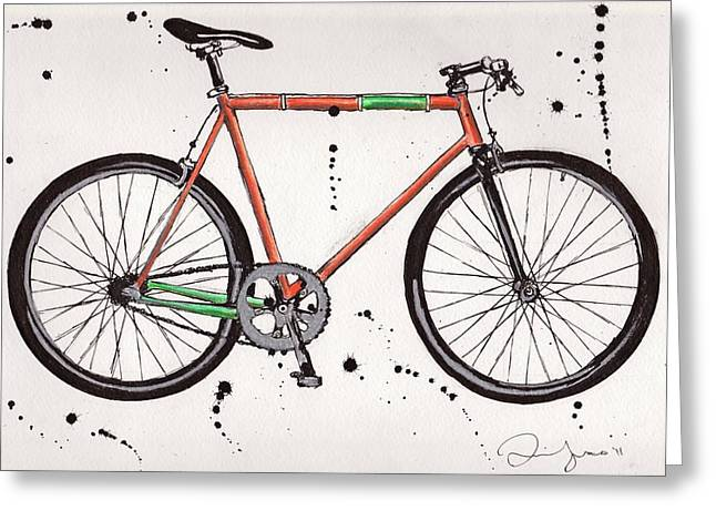 Fixie Greeting Cards - BicycleBicycleBicycle Greeting Card by Emily Jones