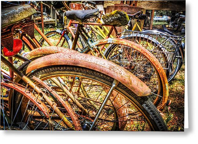 French Bicycle Shop Greeting Cards - Bicycles Greeting Card by Debra and Dave Vanderlaan