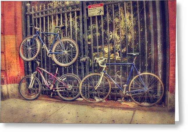 Boston North End Greeting Cards - Bicycles on a Fence - Boston North End Greeting Card by Joann Vitali