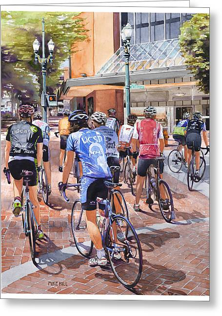 Mike Hill Greeting Cards - Bicycles on Broadway Greeting Card by Mike Hill