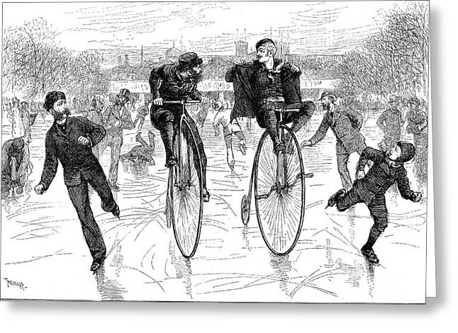BICYCLES ON ICE, 1881 Greeting Card by Granger