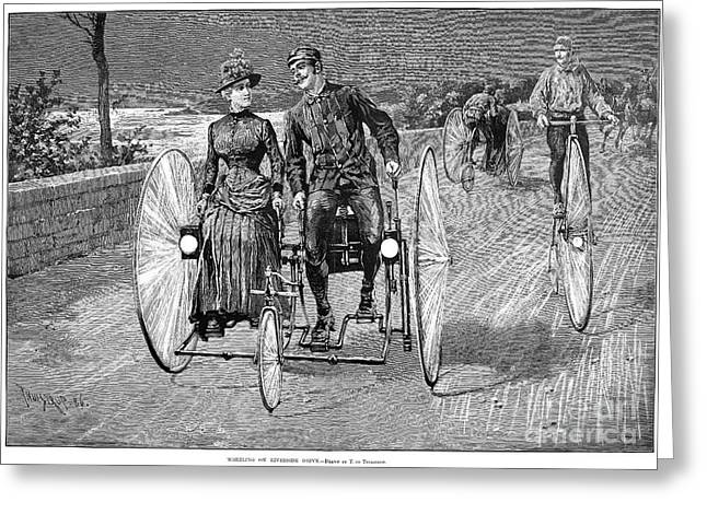 Double Bicycle Greeting Cards - Bicycling, 1886 Greeting Card by Granger