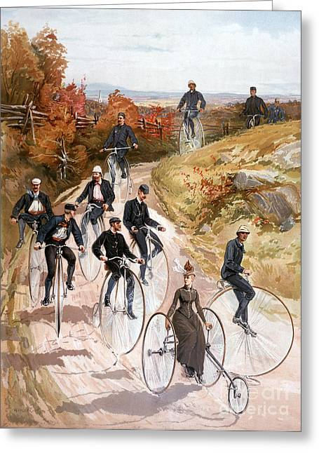 Bicycling, 1887 Greeting Card by Granger
