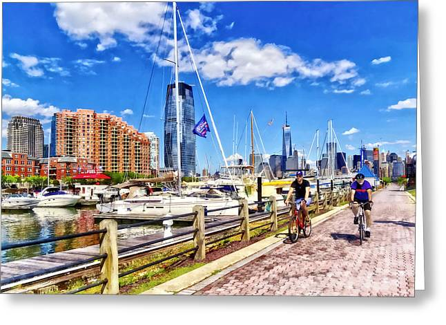 Bicycling Along Liberty Landing Marina Greeting Card by Susan Savad