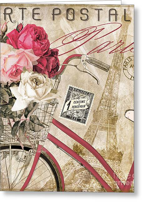 Rose Tower Greeting Cards - Bicycling in Paris I Greeting Card by Mindy Sommers