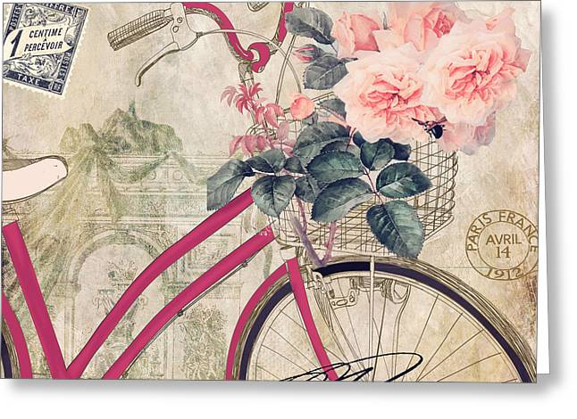 Rose Tower Greeting Cards - Bicycling in Paris II Greeting Card by Mindy Sommers