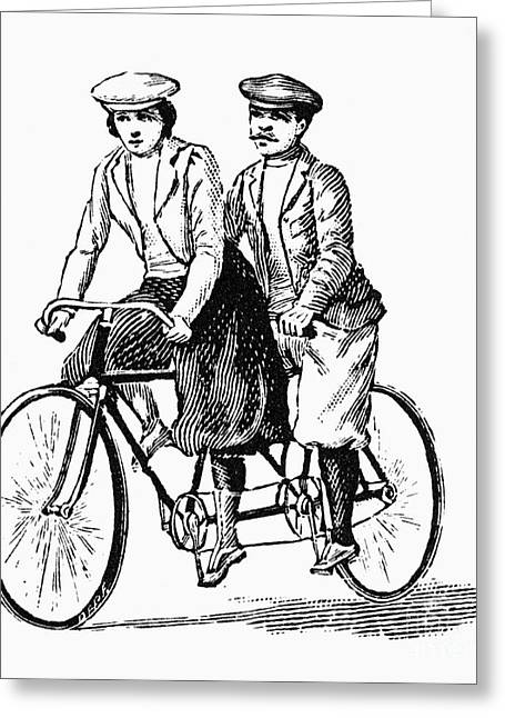 Tandem Bicycle Greeting Cards - BICYCLING: TANDEM, c1900 Greeting Card by Granger