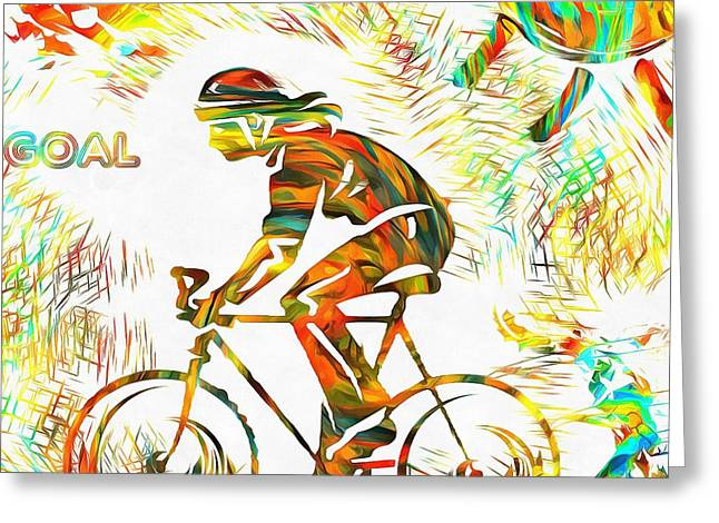 Gym Mixed Media Greeting Cards - Bicyclist Goal Painting Greeting Card by Dan Sproul