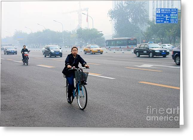 Bicyclist In Beijing Greeting Card by Thomas Marchessault