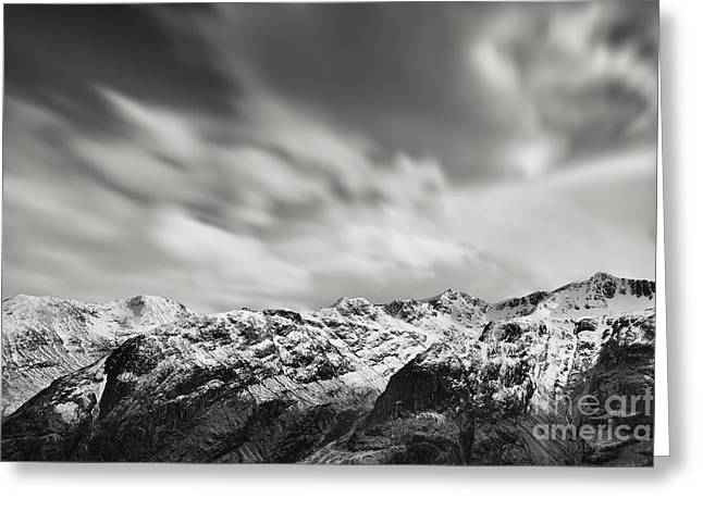 Snow Capped Greeting Cards - Bidean nam Bian Greeting Card by Rod McLean