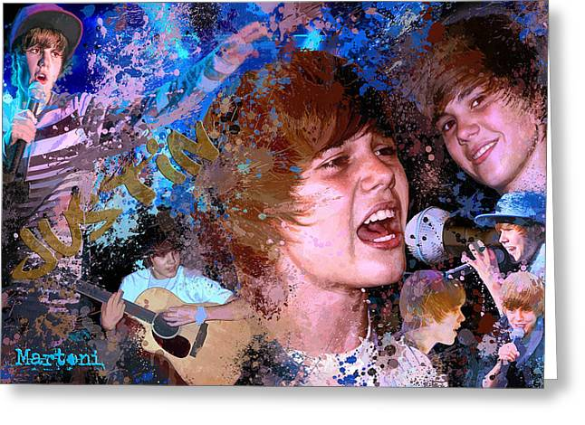 Alex Martoni Greeting Cards - Bieber Fever Tribute to Justin Bieber Greeting Card by Alex Martoni