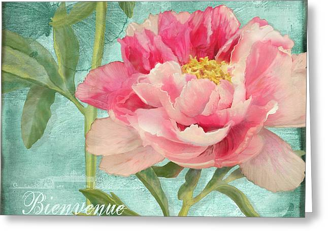 Chic Mixed Media Greeting Cards - Bienvenue - Peony Garden Greeting Card by Audrey Jeanne Roberts