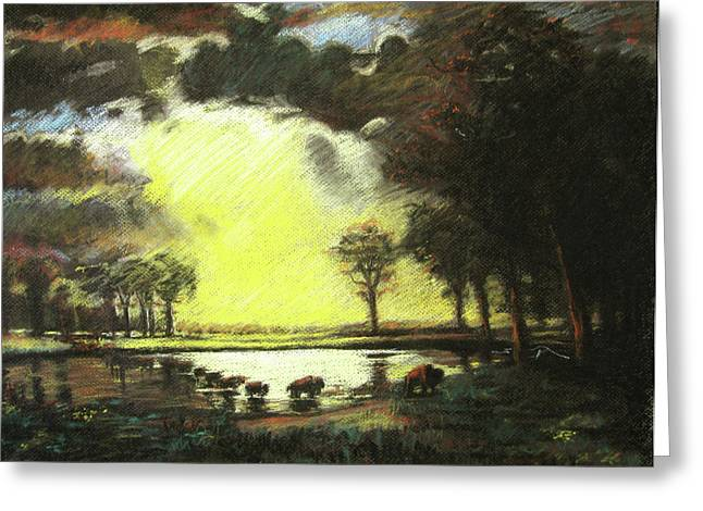Bierstadt Drawings Greeting Cards - Bierstadt Impression Greeting Card by Nils Beasley