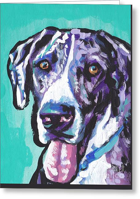 Puppies Paintings Greeting Cards - Big Baby Dane Greeting Card by Lea