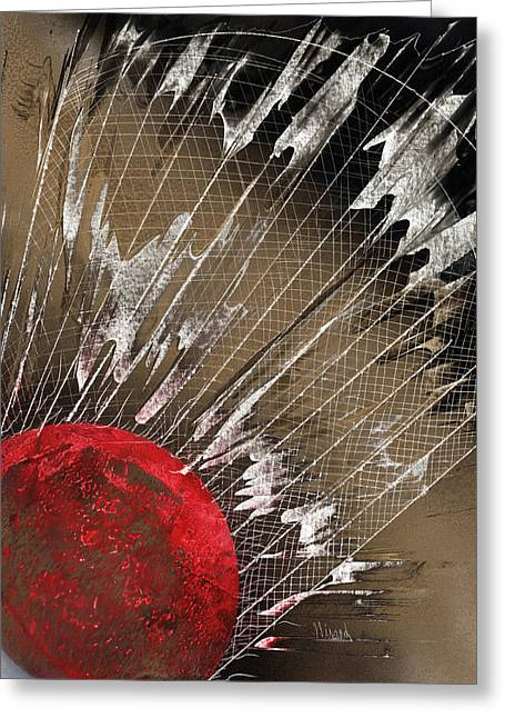 Racquet Paintings Greeting Cards - Big Bad Badminton Greeting Card by Jason Girard