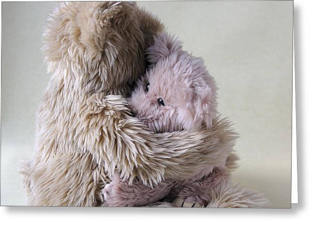 Big Bear Holds Little Bear Greeting Card by Ruby Hummersmith