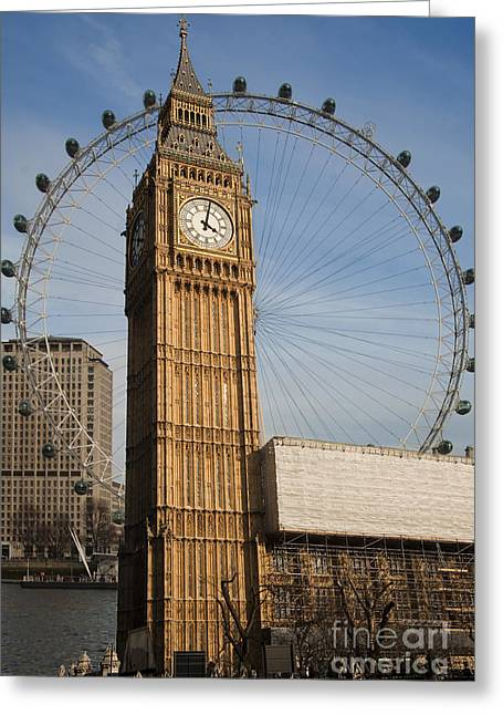 Cities Greeting Cards - Big Ben and Eye Greeting Card by Donald Davis