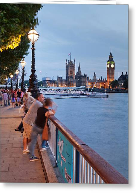 Large Clocks Greeting Cards - Big Ben And Houses Of Parliament Viewed Greeting Card by Panoramic Images