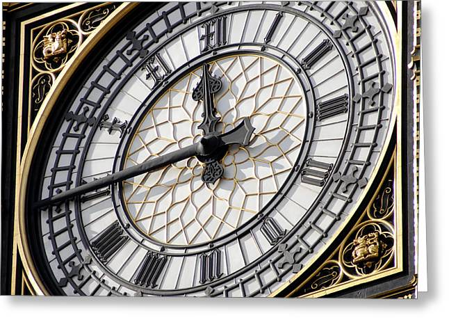 Hands To Face Greeting Cards - Big Ben Clock Face, London, Uk Greeting Card by Johnny Greig