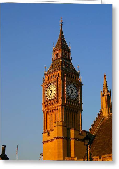 Large Clock Pyrography Greeting Cards - Big Ben Greeting Card by Jenifer Madsen