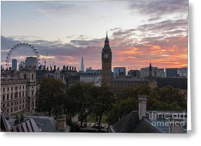 Big Ben London Sunrise Greeting Card by Mike Reid