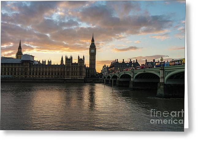 Big Ben London Sunset Greeting Card by Mike Reid