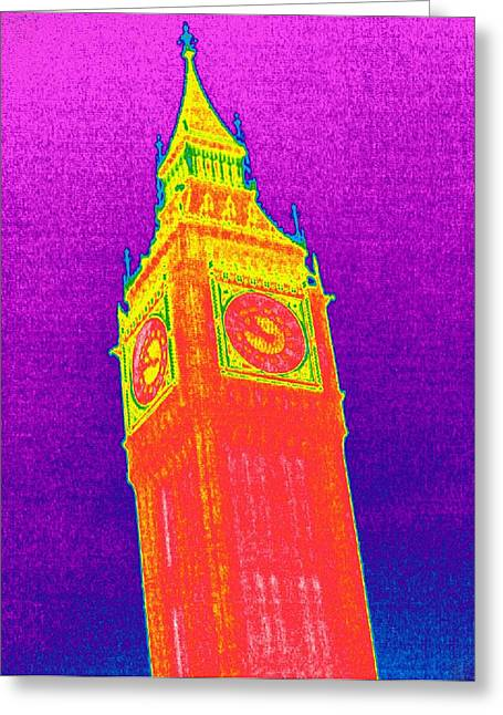 Thermography Greeting Cards - Big Ben, Uk, Thermogram Greeting Card by Tony Mcconnell