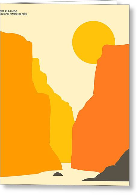 Minimalist Landscape Greeting Cards - Big Bend National Park Greeting Card by Jazzberry Blue