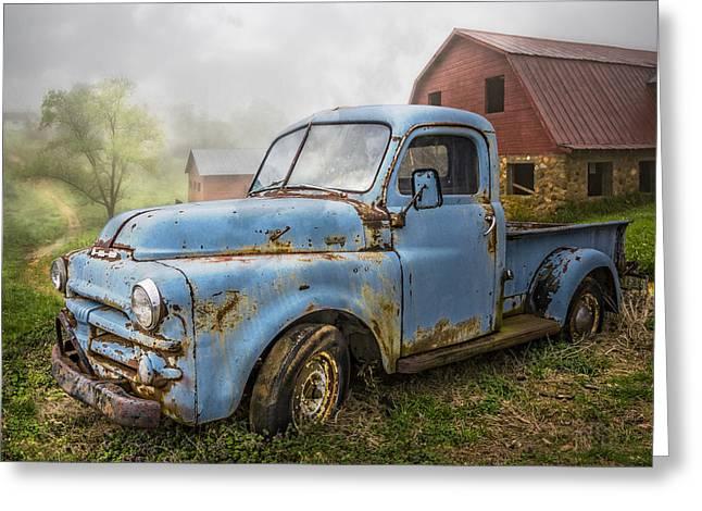 Old Barns Greeting Cards - Big Blue Dodge Greeting Card by Debra and Dave Vanderlaan