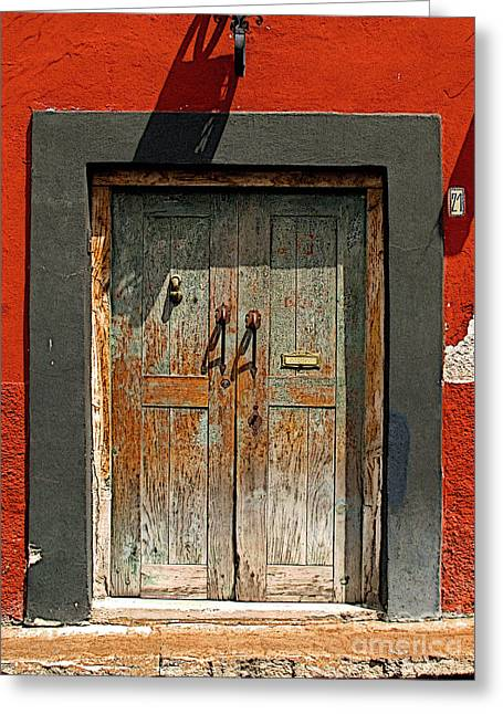 Portal Greeting Cards - Big Blue Door Greeting Card by Olden Mexico