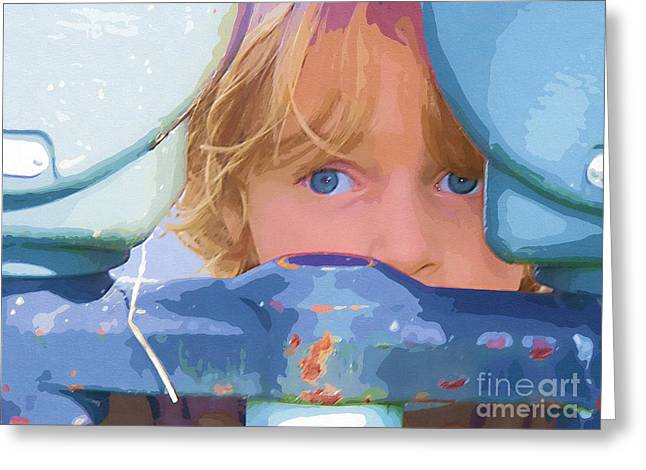 Little Boy Digital Greeting Cards - Big Blue Eyes Greeting Card by Deborah MacQuarrie